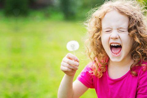 Девочка с одуванчиком чихает